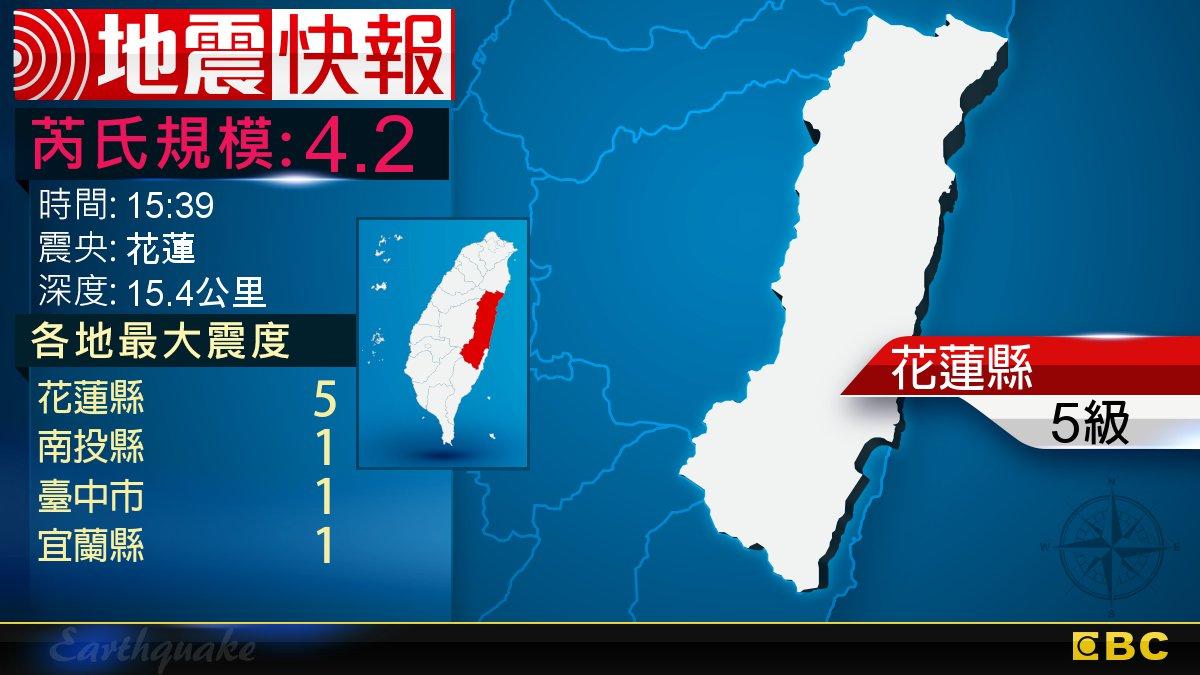 地牛翻身!15:39 花蓮發生規模4.2地震