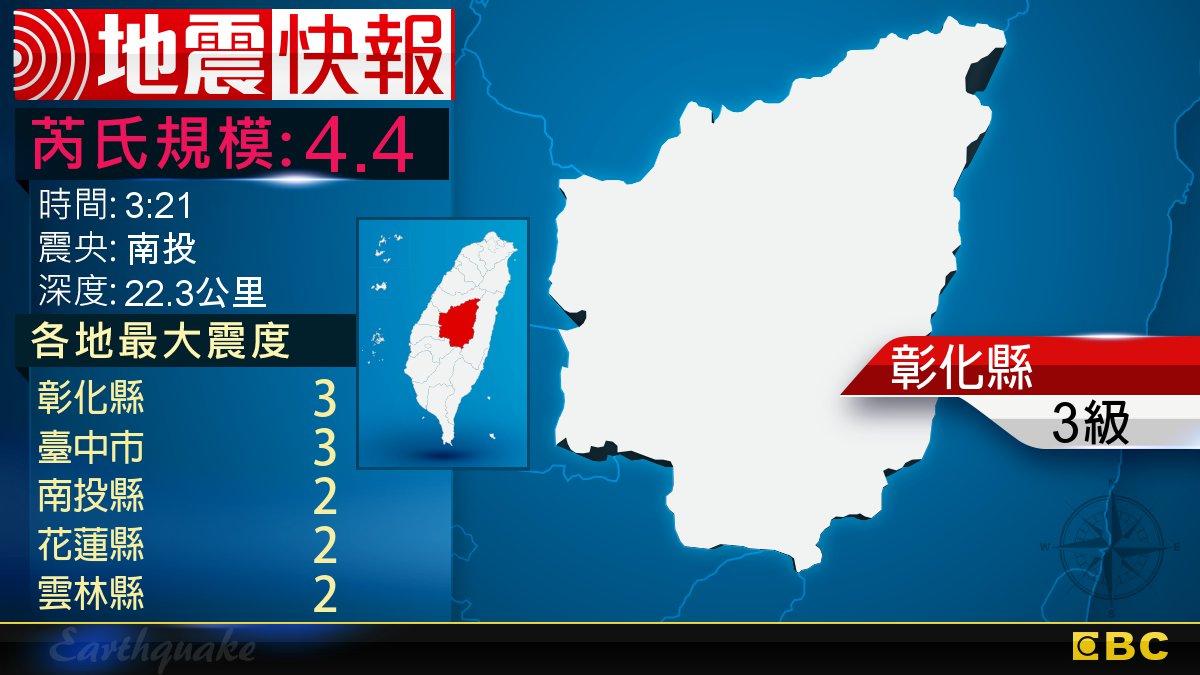 地牛翻身!3:21 南投發生規模4.4地震