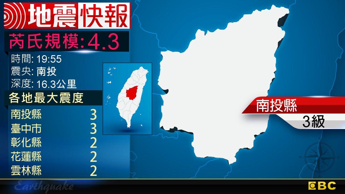 地牛翻身!19:55 南投發生規模4.3地震