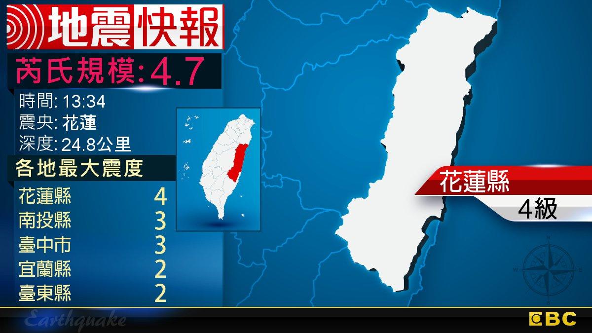 地牛翻身!13:34 花蓮發生規模4.7地震