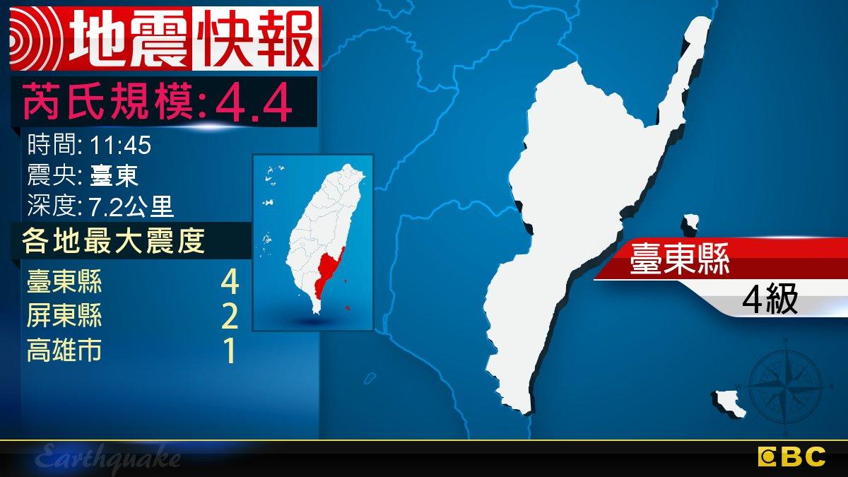 地牛翻身!11:45 臺東發生規模4.4地震